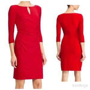 NWT Ralph Lauren Red Jersey Keyhole Sheath Dress